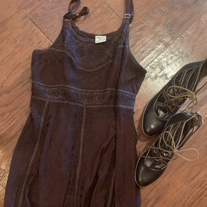Chocolate colored embroidered summer dress
